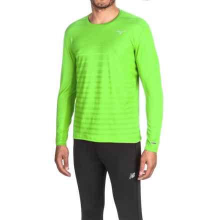 Mizuno Body Map Running Shirt - Long Sleeve (For Men) in Green Gecko - Closeouts