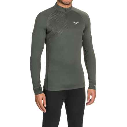 Mizuno Breath Base Layer Top - Zip Neck, Long Sleeve (For Men) in Dark Shadow - Closeouts