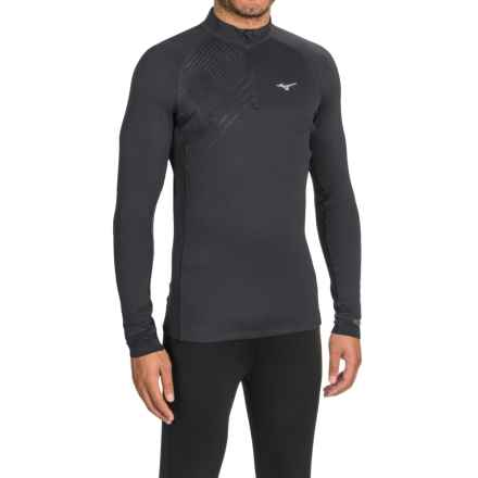 Mizuno Breath Base Layer Top - Zip Neck, Long Sleeve (For Men) in Mn Black - Closeouts