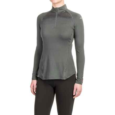 Mizuno Breath Thermo® Base Layer Running Shirt - Zip Neck, Long Sleeve (For Women) in Dark Shadow - Closeouts