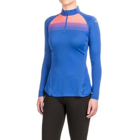 Mizuno Breath Thermo® Base Layer Running Shirt - Zip Neck, Long Sleeve (For Women) in Dazzling Blue