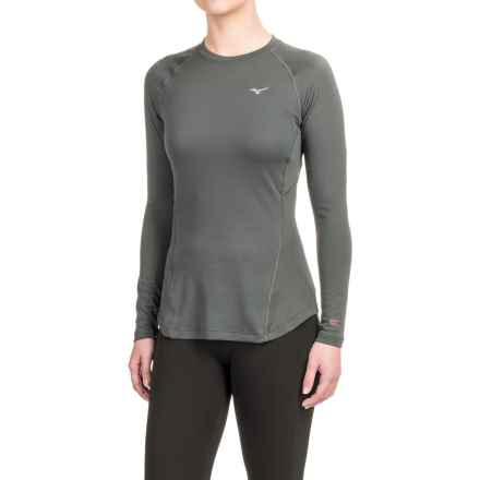 Mizuno Breath Thermo® Base Layer T-Shirt - Crew Neck, Long Sleeve (For Women) in Dark Shadow - Closeouts