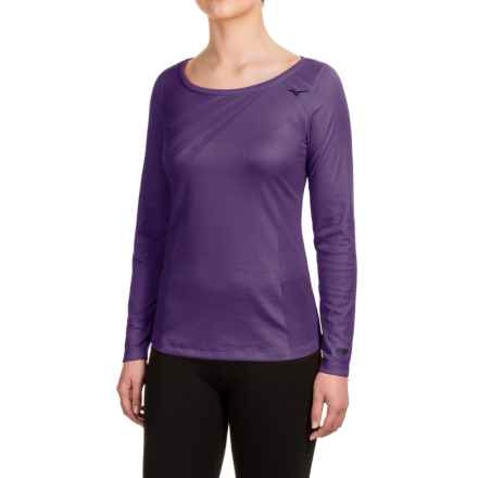 Mizuno Breath Thermo® Body Map Shirt - Crew, Long Sleeve (For Women) in Mulberry Purple - Closeouts