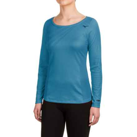Mizuno Breath Thermo® Body Map Shirt - Crew, Long Sleeve (For Women) in Saphire Blue - Closeouts