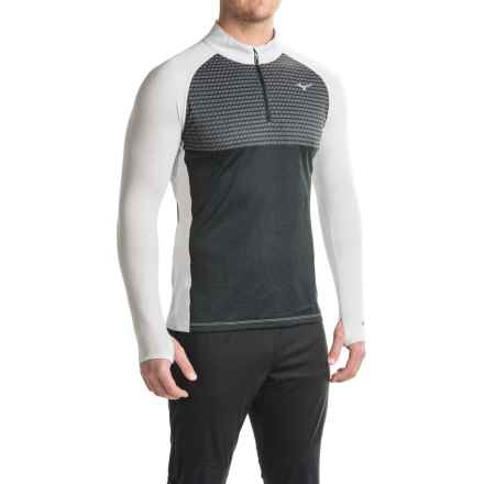 Mizuno Breath Thermo® Double-Knit Running Shirt - Zip Neck, Long Sleeve (For Men) in Black/Glacier Grey - Closeouts