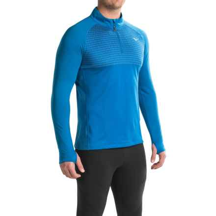 Mizuno Breath Thermo® Double-Knit Running Shirt - Zip Neck, Long Sleeve (For Men) in Skydiver/Skydiver - Closeouts