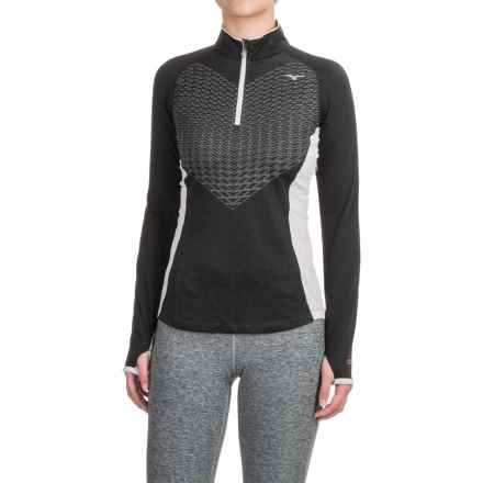 Mizuno Breath Thermo® Double-Knit Shirt - Zip Neck (For Women) in Black/Glacier Grey - Closeouts