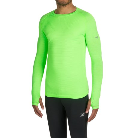 Mizuno Breath Thermo® Running Shirt - Long Sleeve (For Men) in Green Gecko