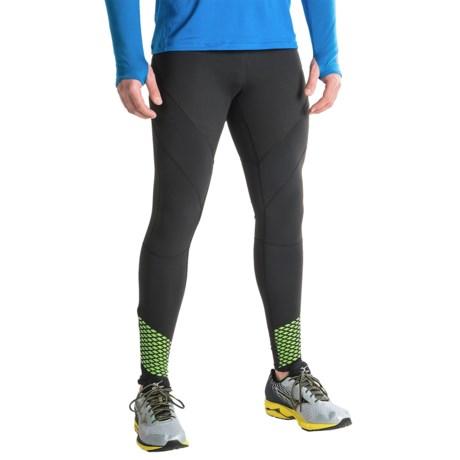 Mizuno Breath Thermo® Running Tights (For Men) in Black Green Gecko