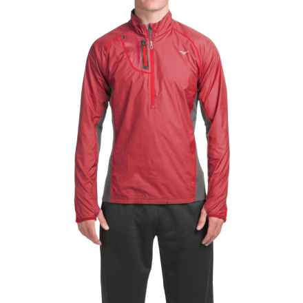Mizuno Breath Thermo Windtop Shirt - Zip Neck, Long Sleeve (For Men) in Chinese Red/Dark Shadow - Closeouts