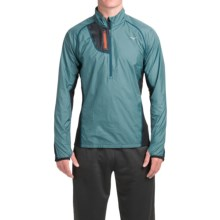 Mizuno Breath Thermo Windtop Shirt - Zip Neck, Long Sleeve (For Men) in Ink Blue/Dark Slate - Closeouts