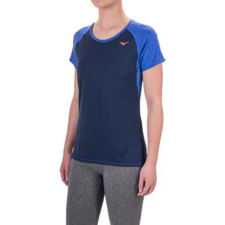 Mizuno Discover Running Shirt - Short Sleeve (For Women) in Dazzling Blue - Closeouts