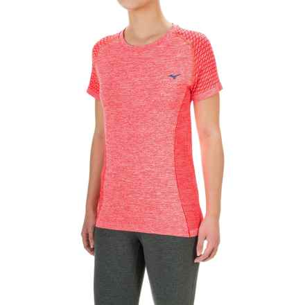 Mizuno Seeker Shirt - Short Sleeve (For Women) in Firey Coral - Closeouts