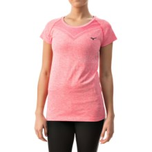Mizuno Seeker Shirt - Short Sleeve (For Women) in Rouge Red/ Turbulence - Closeouts