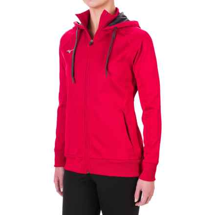 Mizuno Track Hoodie (For Women) in Red - Closeouts
