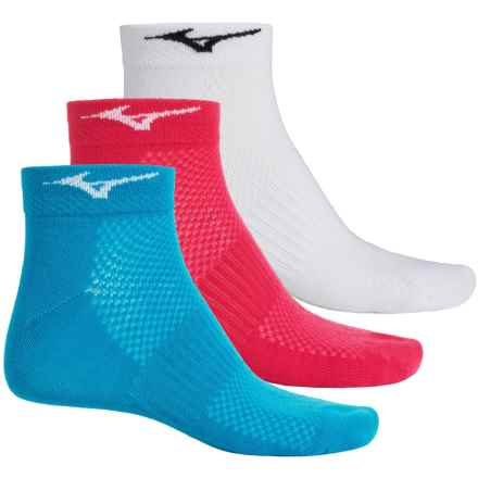 Mizuno Training Mid Socks - 3-Pack, Below the Ankle (For Men and Women) in White/Raspberry/Sky Blue - Closeouts