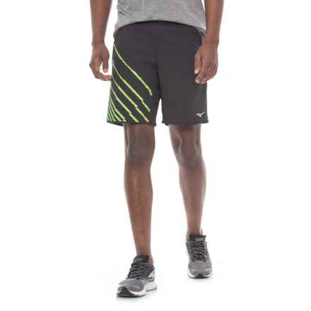 Mizuno Venture Square 8.5 Running Shorts - Built-In Brief (For Men) in Black Green Gecko - Closeouts