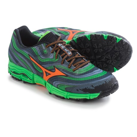 Mizuno Mens Wave Kazan Trail Running Shoes - Turbulence/Vibrant Orange