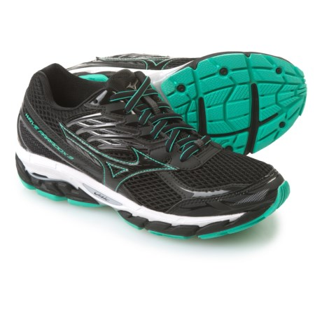 Mizuno Wave Paradox 3 Running Shoes (For Women) in Black/Electric Green