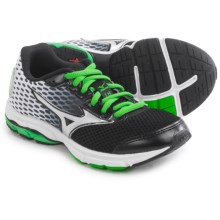 Mizuno Wave Rider 18 Running Shoes (For Little and Big Kids) in Black/Classic Green/White - Closeouts