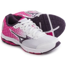 Mizuno Wave Rider 18 Running Shoes (For Little and Big Kids) in White/Shadow Purple/Fuchsia - Closeouts