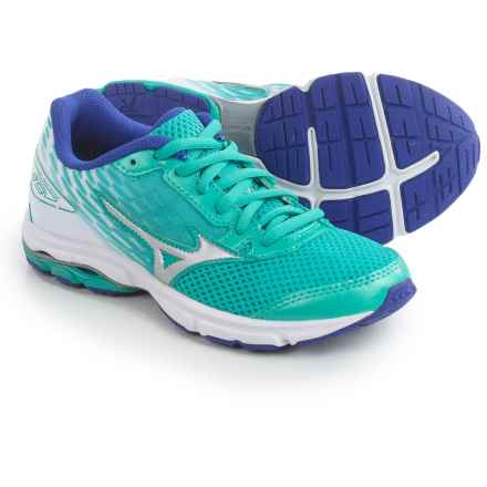 Mizuno Wave Rider 19 Running Shoes (For Little and Big Kids) in Atlantis/Silver/Clematis Blue - Closeouts