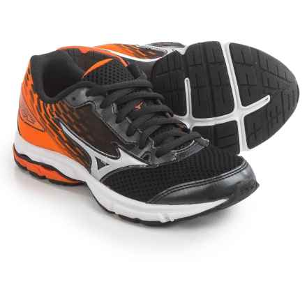 Mizuno Wave Rider 19 Running Shoes (For Little and Big Kids) in Black/Silver/Vibrant Orange - Closeouts