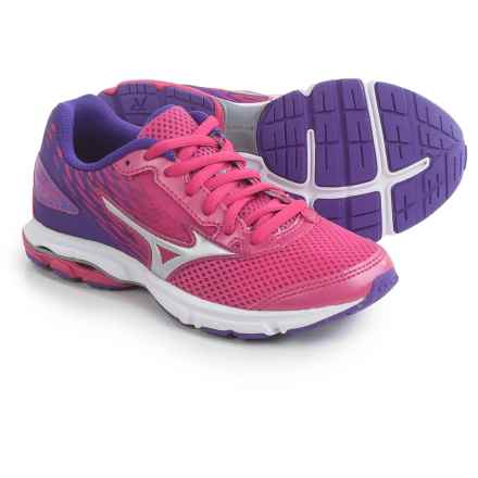 Mizuno Wave Rider 19 Running Shoes (For Little and Big Kids) in Fuchsia Purple/Silver/Royal Purple - Closeouts