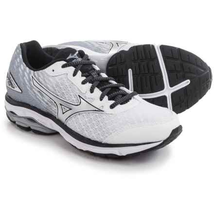 Mizuno Wave Rider 19 Running Shoes (For Men) in White/Black - Closeouts