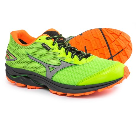 Mizuno Wave Rider 20 Gore-Tex® Running Shoes - Waterproof (For Men) in Green Flash/Clownfish