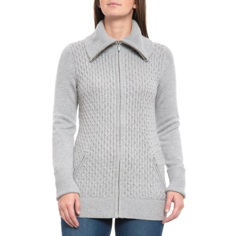 Image of Mock Neck Cardigan Sweater (For Women)