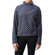 Mock Neck Fleece Shirt - Long Sleeve (For Women) in Navy Print - 2nds