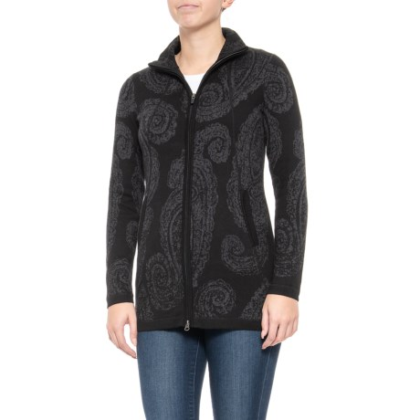 Image of Mock Neck Full-Zip Patterned Cardigan Sweater (For Women)