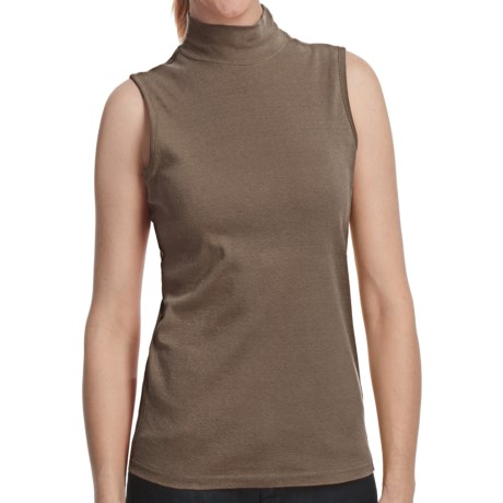 Mock Neck Shell - Cotton, Sleeveless (For Women) in Brown