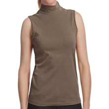 Mock Neck Shirt - Cotton, Sleeveless (For Women) in Brown - 2nds