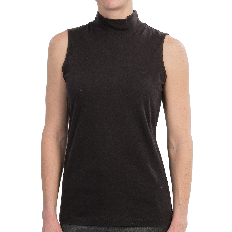 Mock Neck Stretch Cotton Knit Shirt For Women Save 64