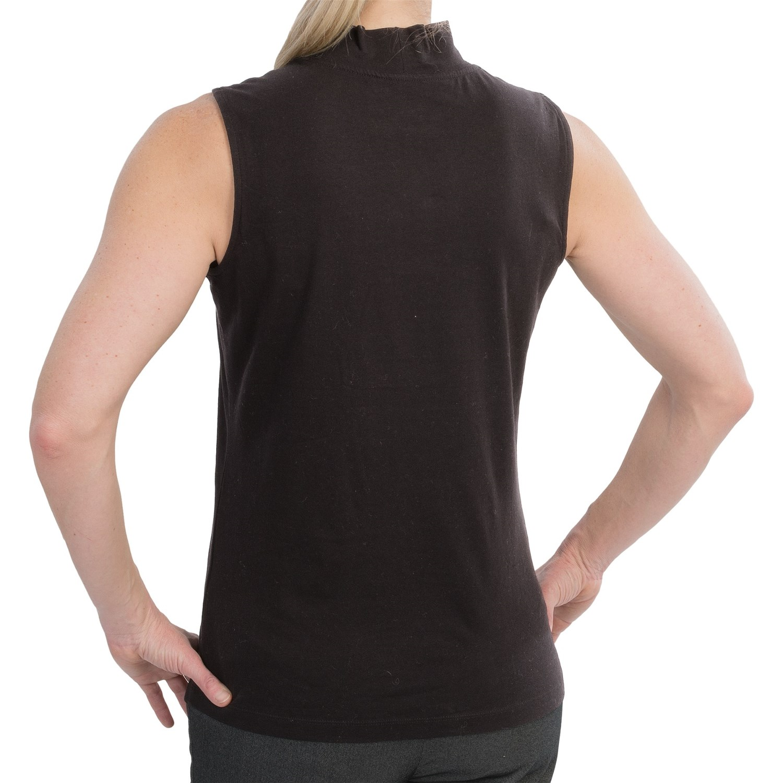 Mock Neck Stretch Cotton Knit Shirt For Women 8869r