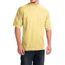 Mock Turtleneck - Supima® Cotton, Short Sleeve (For Men and Big Men) in Lemon - 2nds
