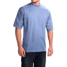 Mock Turtleneck - Supima® Cotton, Short Sleeve (For Men and Big Men) in Sky - 2nds