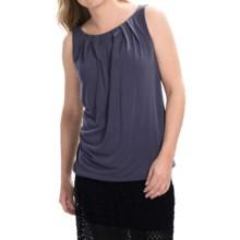 Modal Blend Pleat Neck Shirt - Sleeveless (For Women) in Blue - 2nds