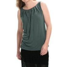 Modal Blend Pleat Neck Shirt - Sleeveless (For Women) in Green - 2nds