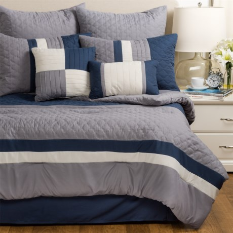 Modena Home Patchwork Comforter Set - King, 8-Piece in Navy/Grey