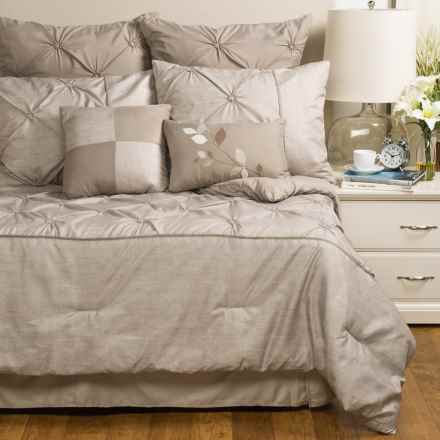 Modena Home Printed Linen Comforter Set - Queen, 8-Piece in Taupe - Closeouts
