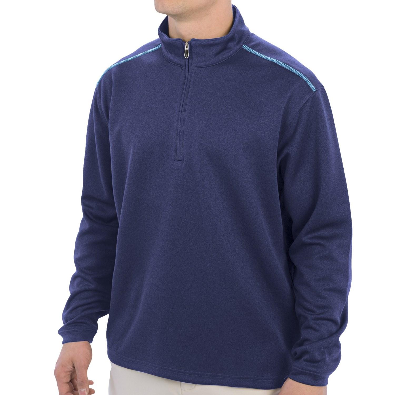 Moisture Wicking Golf Shirt Zip Neck Long Sleeve For