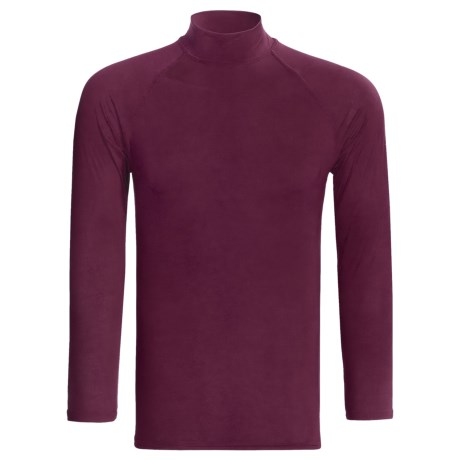 Moisture-Wicking Mock Turtleneck - Long Sleeve (For Men) in Burgundy