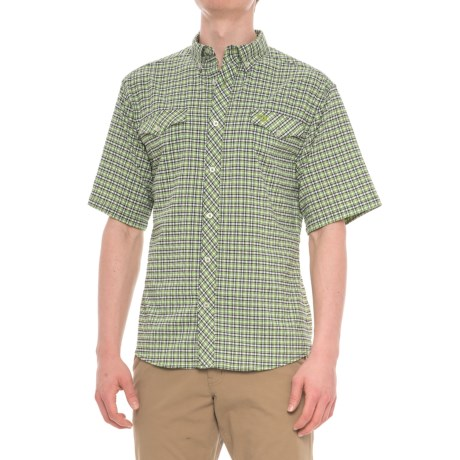 Mojo Sportswear Back Country Big Plaid Technical Shirt - UPF 30, Short Sleeve (For Men) in Green Plaid