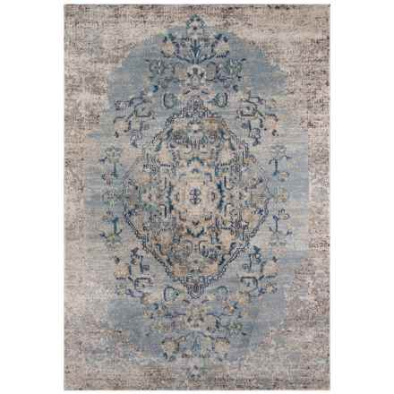 Momeni Amelia Vintage Look Medallion Area Rug - 5x8' in Light Blue - Closeouts