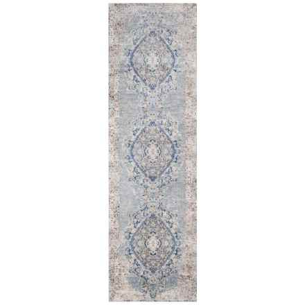 Momeni Amelia Vintage Look Medallion Floor Runner - 2x8', Light Blue in Light Blue - Closeouts
