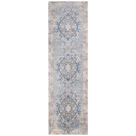 Momeni Amelia Vintage Look Medallion Floor Runner - 2x8', Light Blue in Light Blue