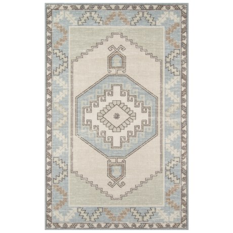"Momeni Anatolia Transitional Area Rug - 5'3""x7'6"", Wool-Nylon in Light Blue"